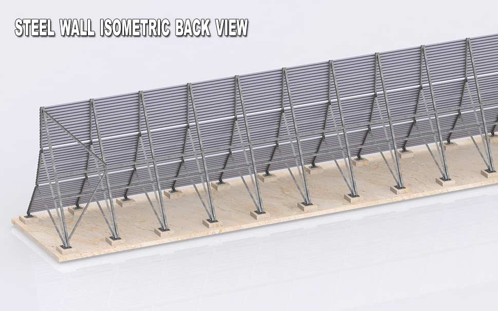 Steel wall isometric back view
